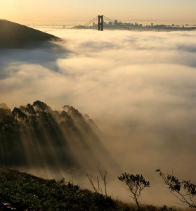 Fog attracts like a blanket over the coast near the Golden Gate in San Francisco, California.